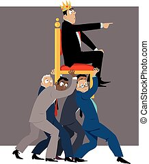 Boss - team of businessmen carrying a throne with a leader...