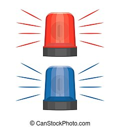 Blue and red flashing warning lights and sirens. flashing...