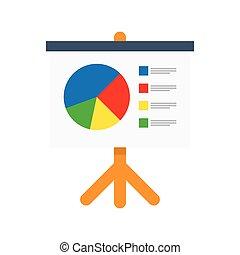 Flipchart, whiteboard screen with marketing data -...