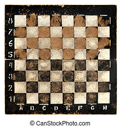 Old empty chess board - Isolated objects: very old empty...