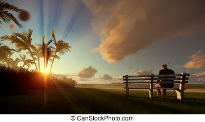Grandfather resting and little boy with airplane running, tropical island at sunset
