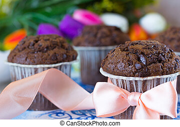 Festive chocolate muffins - Chocolate muffins on the board...