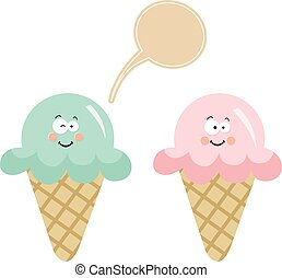 Couple ice cream with speech balloon - Scalable vectorial...