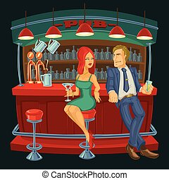 Cartoon illustration of man meets a woman in bar - Vector...