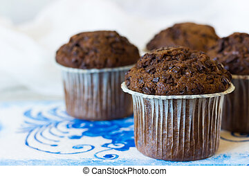 Chocolate muffins with chocolate drops - Chocolate muffins...