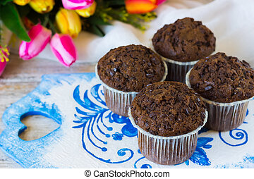 Chocolate muffins on a mother's day - Chocolate muffins on...
