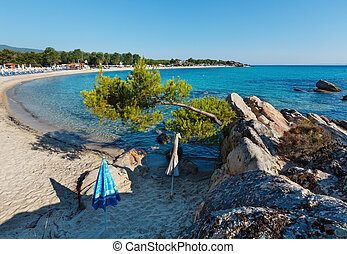 Summer morning Platanitsi beach, Sithonia, Greece. - Summer...