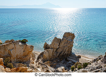 Summer Sithonia rocky coast, Greece. - Summer morning sandy...