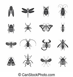 Monochrome Insects Silhouettes Set - Monochrome insects...