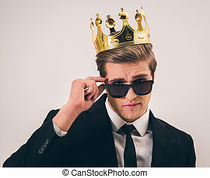 Handsome young prince - Handsome young man in suit, crown...