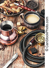 Shisha with coffee - aroma oriental hookah with coffee in...