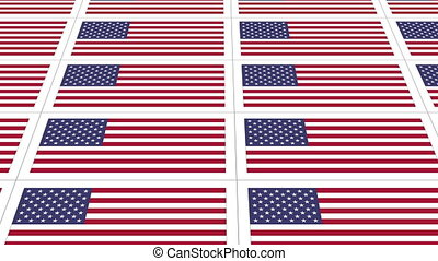 Postcards with United States national flag looped - Sheet of...