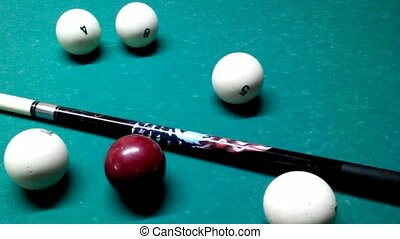 Russian billiards - balls and cue on the table