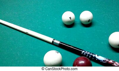 Russian pool - balls and cue on the table