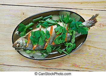 Steamed Whole Fish.Chinese dish.
