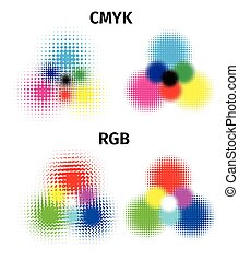 RGB and CMYK halftone vector illustration color