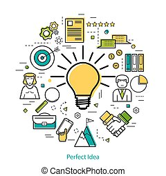 Business concept perfect idea - LineArt - Vector business...