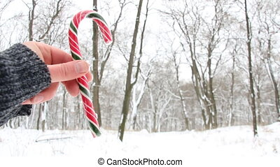 Hand holding Candy Cane. Snowy Christmas landscape. Blurred...