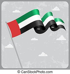 United Arab Emirates wavy flag. Vector illustration. -...