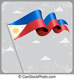 Philippines wavy flag. Vector illustration. - Philippines...