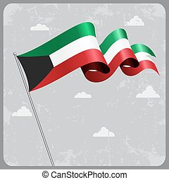 Kuwait wavy flag. Vector illustration. - Kuwait flag wavy...