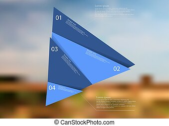 Illustration infographic template with blue triangle randomly divided to four parts
