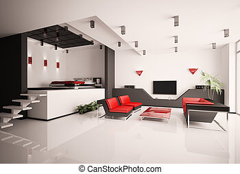 Living room and bedroom interior 3d - Modern apartment with...