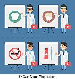 Stomatologist indicates on flip chart - Vector illustration,...