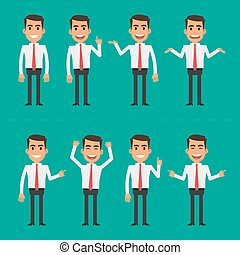 Businessman in various poses - Vector illustration,...