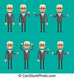 Businessman blond in various poses - Vector illustration,...