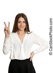 woman in white blouse - Beautiful woman in white blouse...