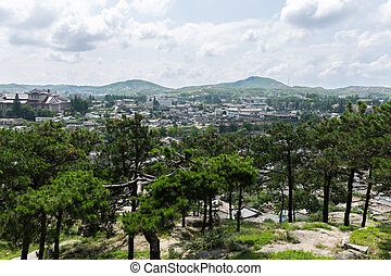 view of the city of Kaesong, North Korea.