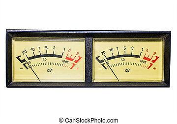 Retro sound level meter - Old dial indicators isolated on...