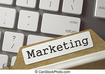Index Card - Marketing. 3D. - Marketing Concept. Word on...