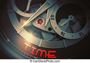 Time on Elegant Wristwatch Mechanism. 3D. - Time - Men Wrist...