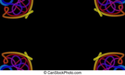 Ornamental patterns composed of multicolored beads, kaleidoscope effect, rotating parts. Video decoration