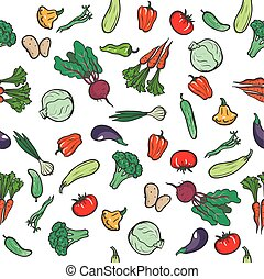 Collection of vegetables. seamless background. colored...