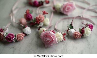 Flowers bracelets on table - Flowers bracelets shot on tbale