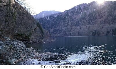 Lake Ritsa and the Caucasus mountains in Abkhazia - Natural...