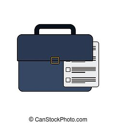 suitcase with document related icon