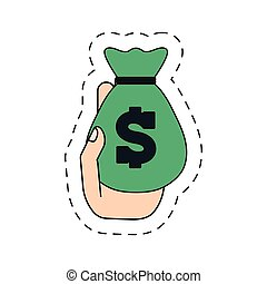 green moneybag in the hand icon image