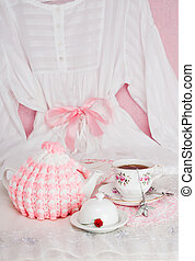Pink Pajama Party - Tea in bed with white pajamas, teapot...