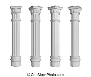 Column Pillar Isolated on White Background, 3d rendering,...