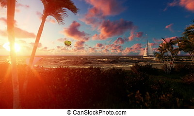 Woman runnin on the beach, air ballon and yacht sailing against beautiful sunrise