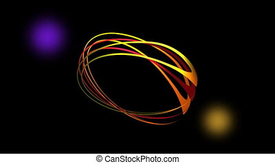 Video intro with vibrant rotating ovals and flickering lights, abstract animation in laser show style