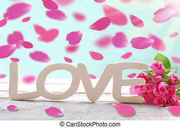 romantic love background with falling rose petals - romantic...