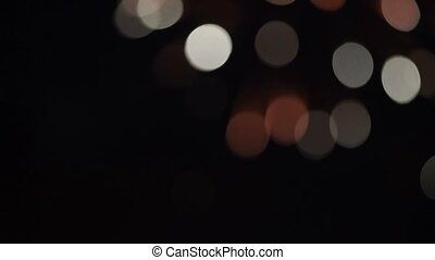 Firework bokeh at night