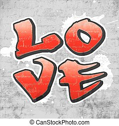 Love graffiti - The word LOVE written in a quadrant in...