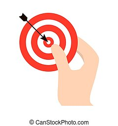 dartboard related in the hand icon image, vector...