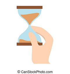 hourglass in the hand icon image design, vector illustration